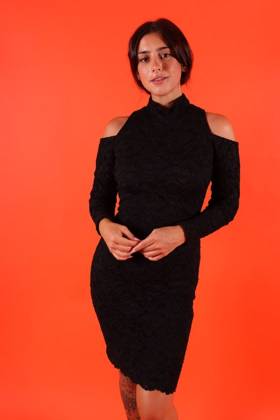 Vintage 90's 'Hollywood Nites' Sexy Black Lace Turtleneck Cutout Shoulder Dress