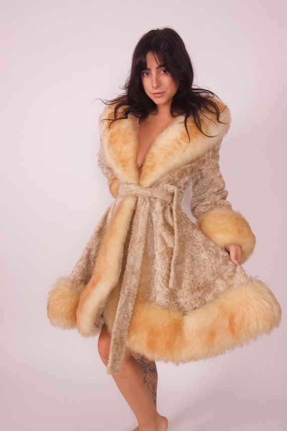 Vintage 'Robert Meshekoff' 1960's Penny Lane Cream Velvet Faux Fur and Plush Shearling Lining and Cuffs