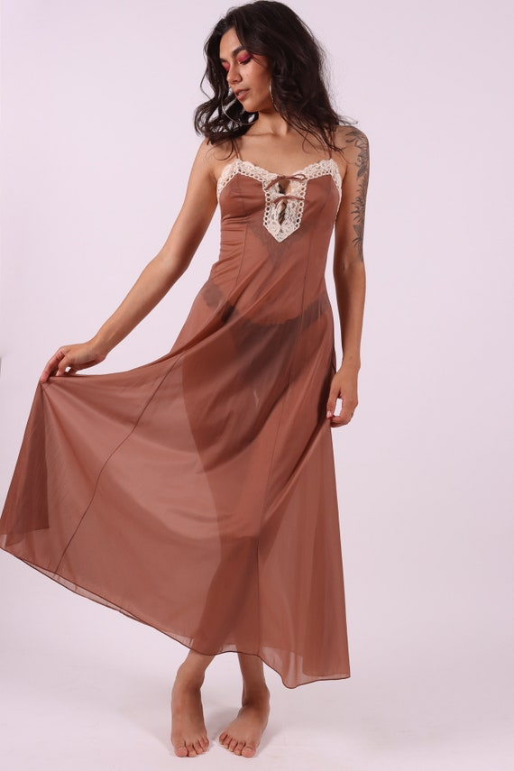 Vintage 'Vanity Fair' 1970's Mocha Brown and Tan Nightgown | Slip | Sheer and Sexy