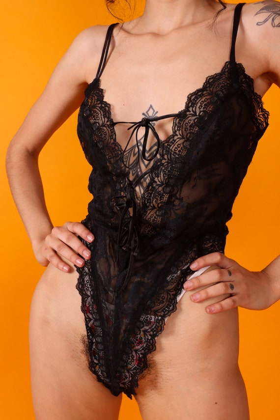 Vintage 'Victoria Secret' Gold and White Tag 90's All Black Lace Sexy Bodysuit | Vintage Lingerie
