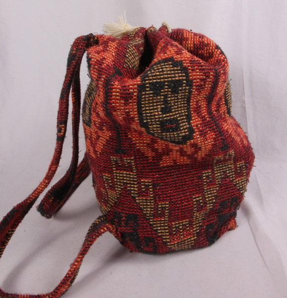 Large Vintage Backpack W/ Faces | Drawstring Purse | Sac |  Festival Bag | Boho | Funky and Fun