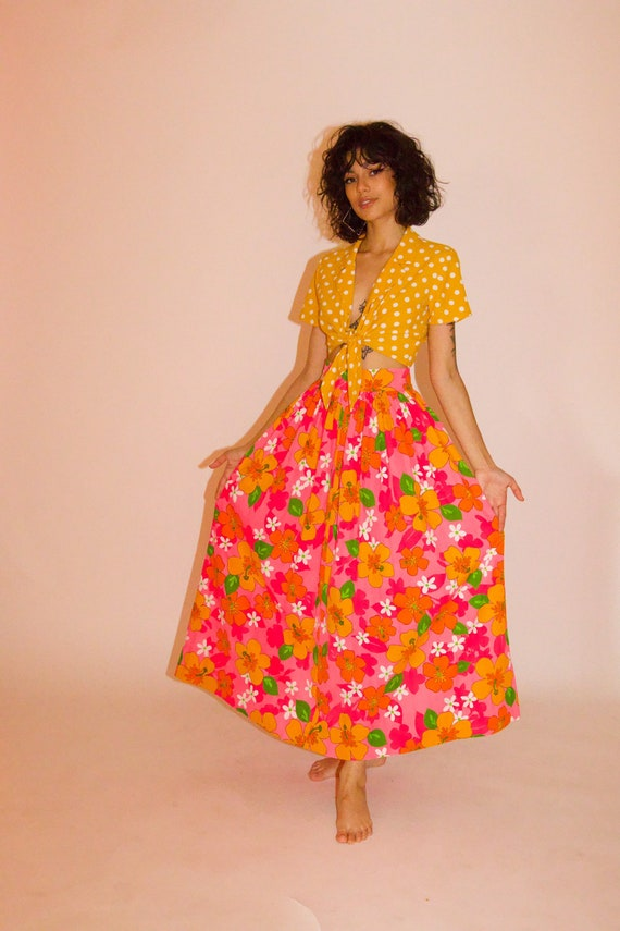 Vintage 1960's High Waisted Hot Pink Floral Barbie Beach Party Skirt
