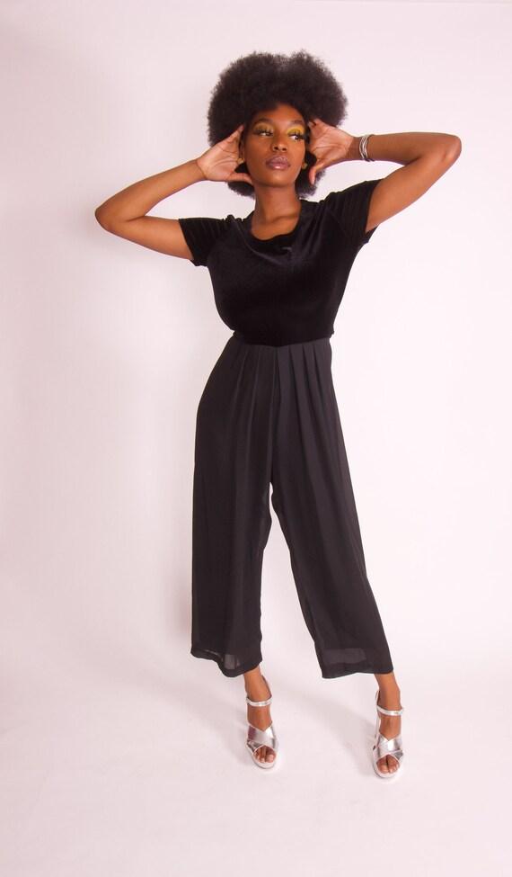 Vintage 90's 'CDC' Black Velvet Wide Leg Jumpsuit