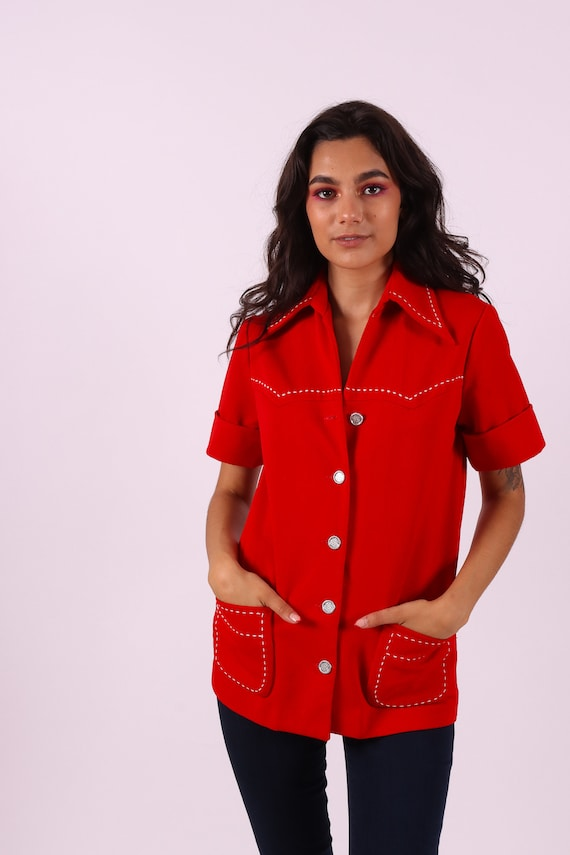 Vintage 1970's 'Hamilton 8' Red Western Blouse W/ Large Collar
