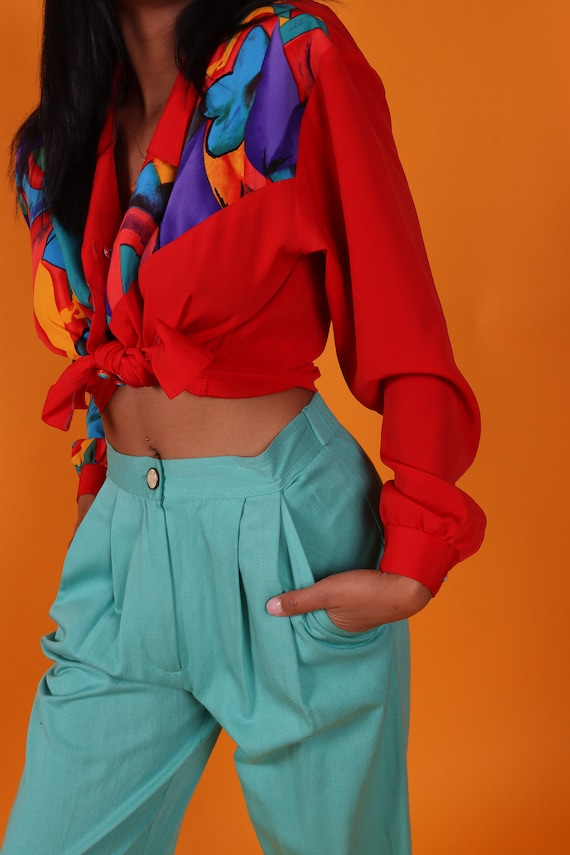 Vintage 90's 'Carol Anderson' Turquoise High Waisted Pants | Trousers | Slacks | Business Casual