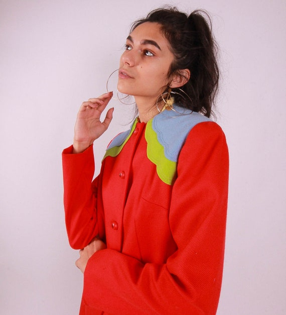 Vintage 1970's Rainbow Boho Disco Jacket | St. Pepper's Lonely Hearts Club | The Beetles | Retro Perfection | Red