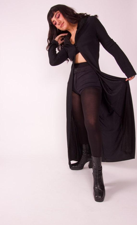 Vintage 90's - Y2K 'Eye Candy' Black Gothic Long Faux Fur Duster Jacket