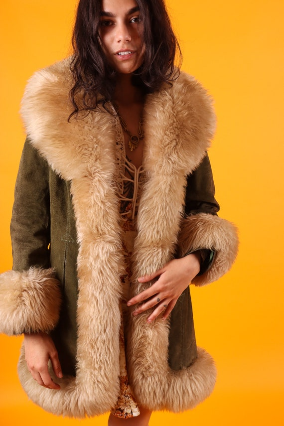 Vintage 'Lantry Leathers' 1970's Penny Lane Olive Green Suede Leather and Plush Shearling Coat | Boho Chic | Fur Coat | Costume