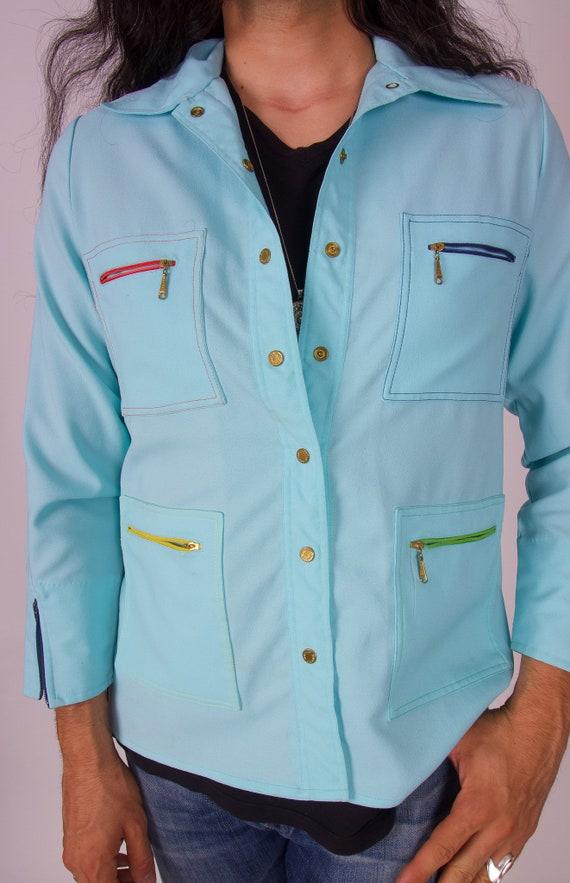 Vintage 'King James of California' Men's 1970's Robins Egg Blue Shirt or Jacket