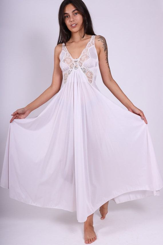 Vintage 1970's 'OLGA' White Long Night Gown W/ White Lace Butterfly Bust