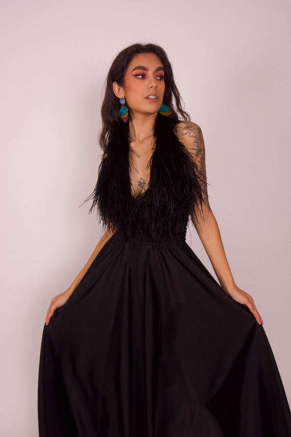 Vintage 'Lilli Diamond' Black Gothic Glamours Halter Dress W/ Feather Bustier
