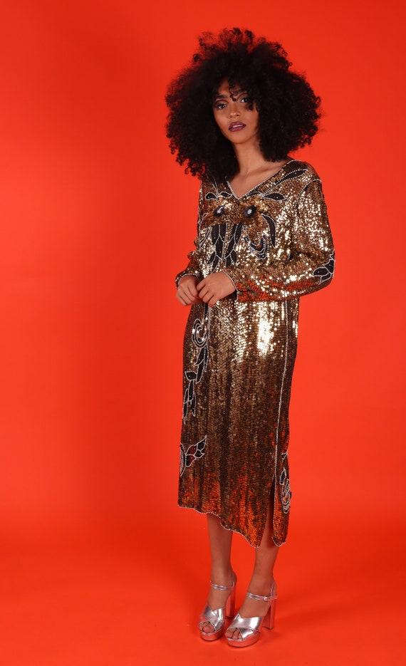 Vintage Art Deco All Gold Sequin Owl Face Disco Metallic Party Dress
