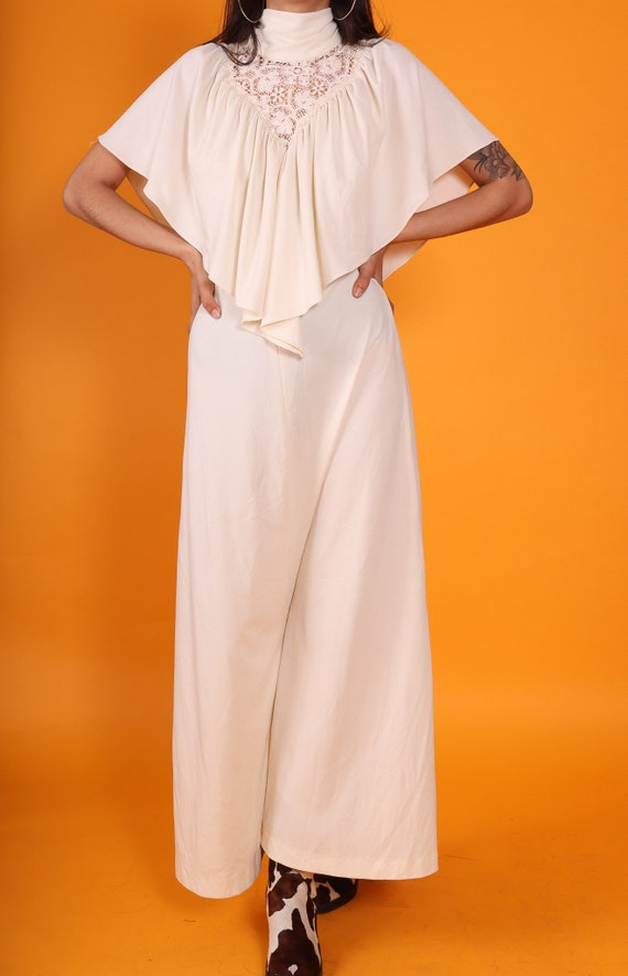 Vintage 1970's Gunne Sax Wannabe High Collar Boho Cream Cape Dress | Wedding | Bridal