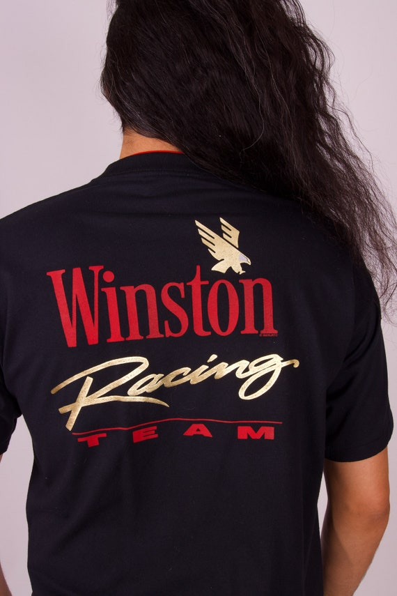 Vintage Single Stitch 'Winston Cigarette Racing Team' Black T-Shirt W/ Red Collar and Gold Signature