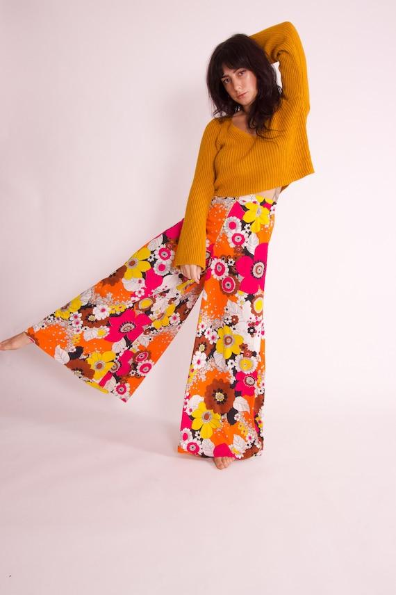 Vintage Boho High Waisted Fun Colorful Floral Wide Leg Pants