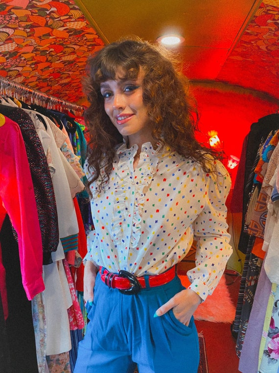 Vintage Primary Color Polkadots 80's High Collar Ruffle Blouse