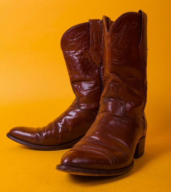 Vintage 'El Dorado' Chestnut Brown Leather Cowboy Boots | Western | Country Boy | Boho | Festival | Pointed Toe