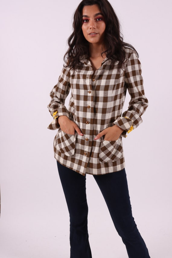Vitnage 'Hear Say' 1960's - 70's Flannel Country Girl Button UP Blouse | Jacket | Top | Polka Dot | Boho