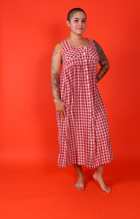 Vintage 90's 'Moda Intl' Red and White Gingham Grunge Summer Dress