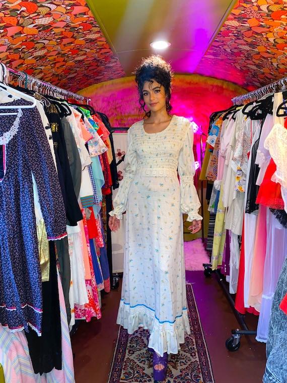 Vintage 1960 - 70's Violette Floral White Hippie Praire Dress