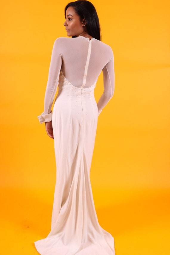 Vintage 1990's All White Couture Dress | Sheer Sexy Sleeve | Large Cuffs | Pearl Details | Train | Formal Wedding | Bride
