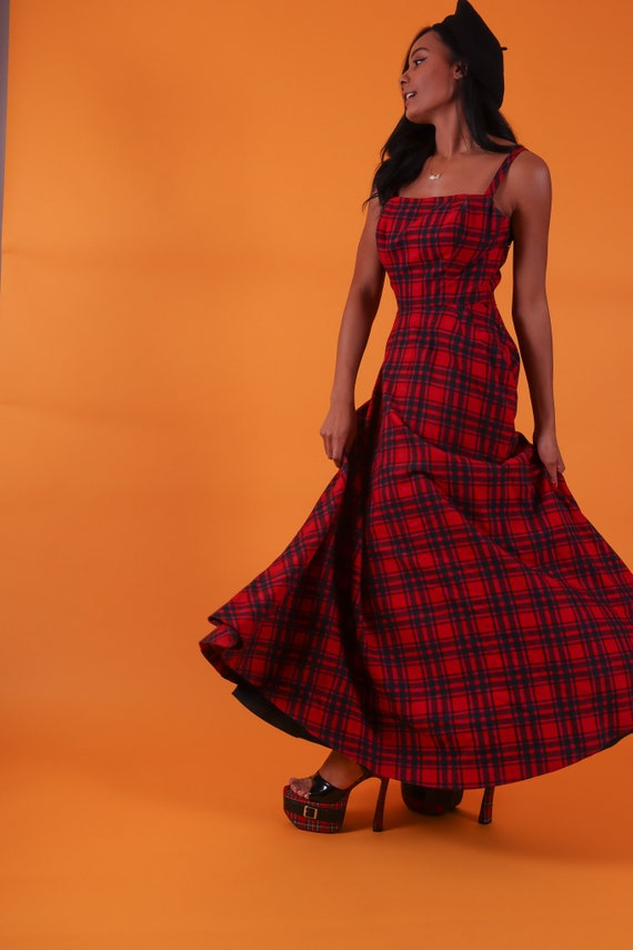 Vintage 'Margaret's' 1940's Full Length Red Plaid Classic Dress | Scottish | Timeless | Romantic | Gothic