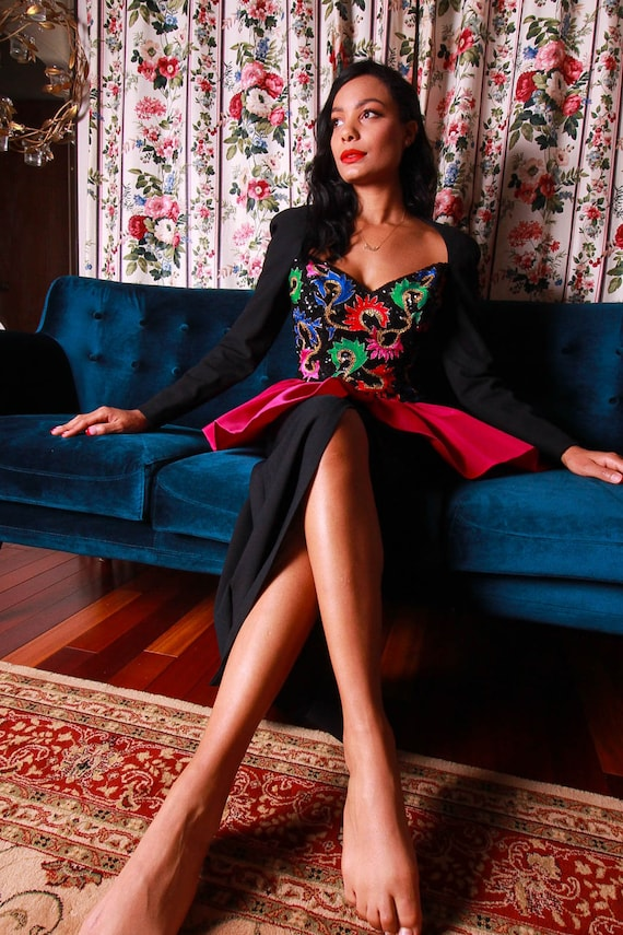 Vintage 'Bob Mackie' Designer Peplum Gown | Retro Barbie | Avant Garde | Unique | Colorful | Costume