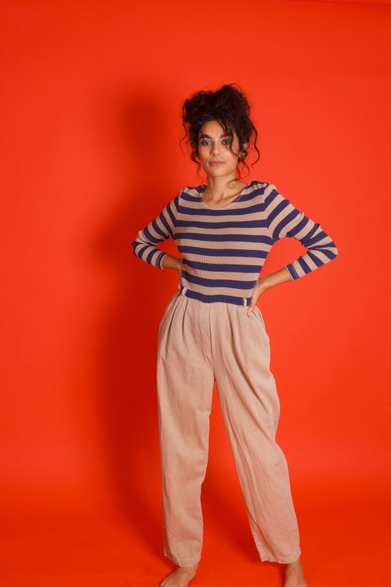 Vintage Amazing 90's 'Nina Piccalino' Khaki and Navy Blue Striped Thermal Jumpsuit