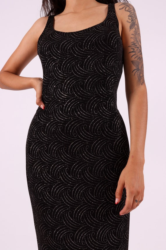 Vintage 'All That Jazz' 90's Long Black Slinky Dress Covered In Art Deco Silver Glitter Design