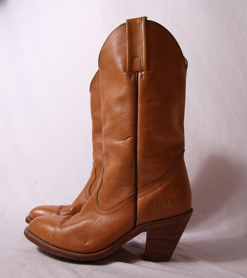 8b4f3b2789e13 Vintage 'FRYE' Tan Leather Cowboy Boot | Western | Country | Boho | Festival