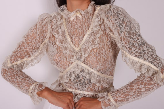Vintage Edwardian Cream Lace High Collar Sheer Blouse W/ Lace and Buttons