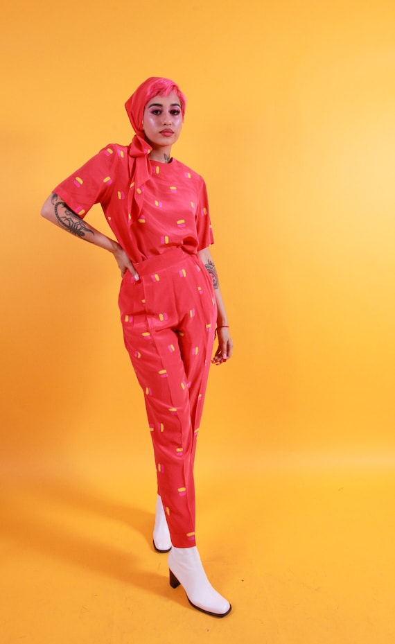Vintage 'Ann May' 100% Coral Orange Silk Set With Pink and Yellow Faux Paint Design W/ Head Scarf or Belt