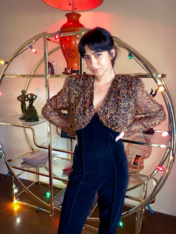 Vintage 90's Sexy 'PG COLLECTION' Black Velvet and Cheetah Print Catsuit Jumpsuit