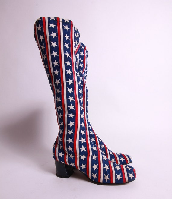 Vintage 1970's Ginger American Flag Go Go Boots | American | Spice Girls | Disco | Mod | Fun and Funky