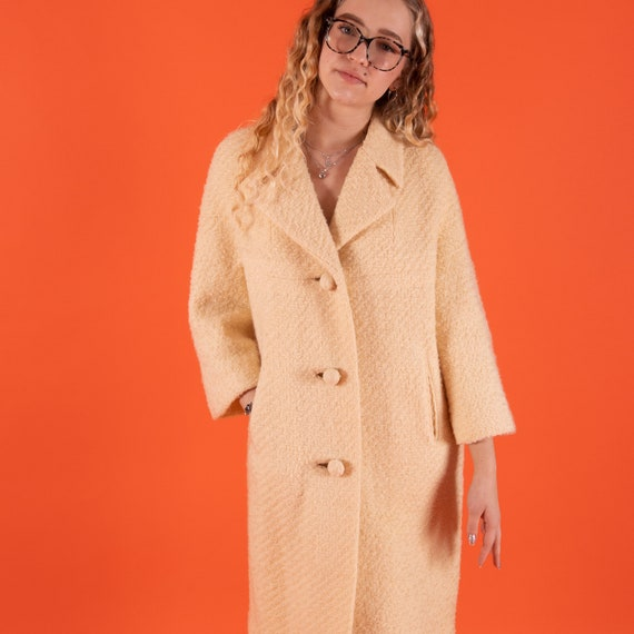 Vintage 1960's Cream White Woven Classic Coat W/ Statement Buttons