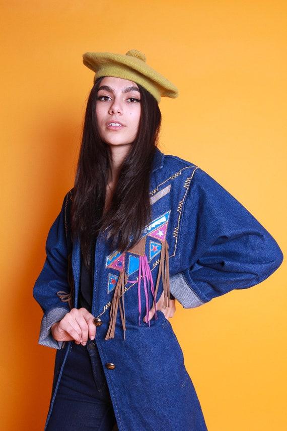 Vintage 90's 'Pioneer Wear' Long Jean Duster Jacket W/ Southwestern Aztec Art and Fringe   Boho Festival Western