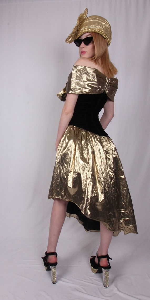 Vintage 'Jessica McClintock for Gunne Sax' Gold Lame and Black Velvet Cocktail Dress | Off The Shoulder | Avant Garde