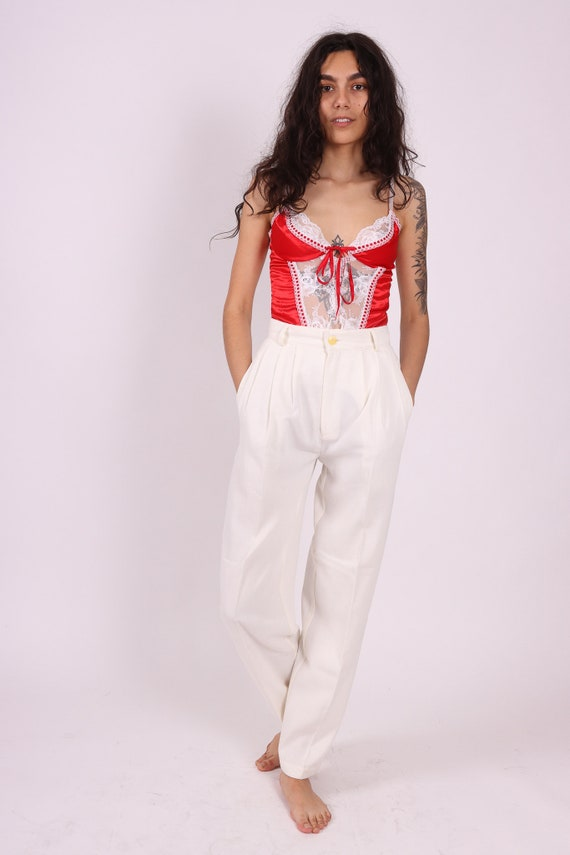 Vintage 'Tribal' White High Waited Trouser Pant | Pleated | Casual Business | Classic | Timeless