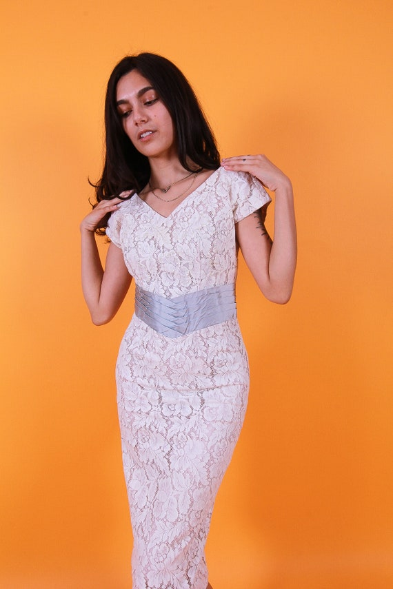 Vintage 'A Norman Original' White Lace Wedding Dress W/Silver Blue Satin Waistband | Hourglass | Cocktail | Sheer | Classic