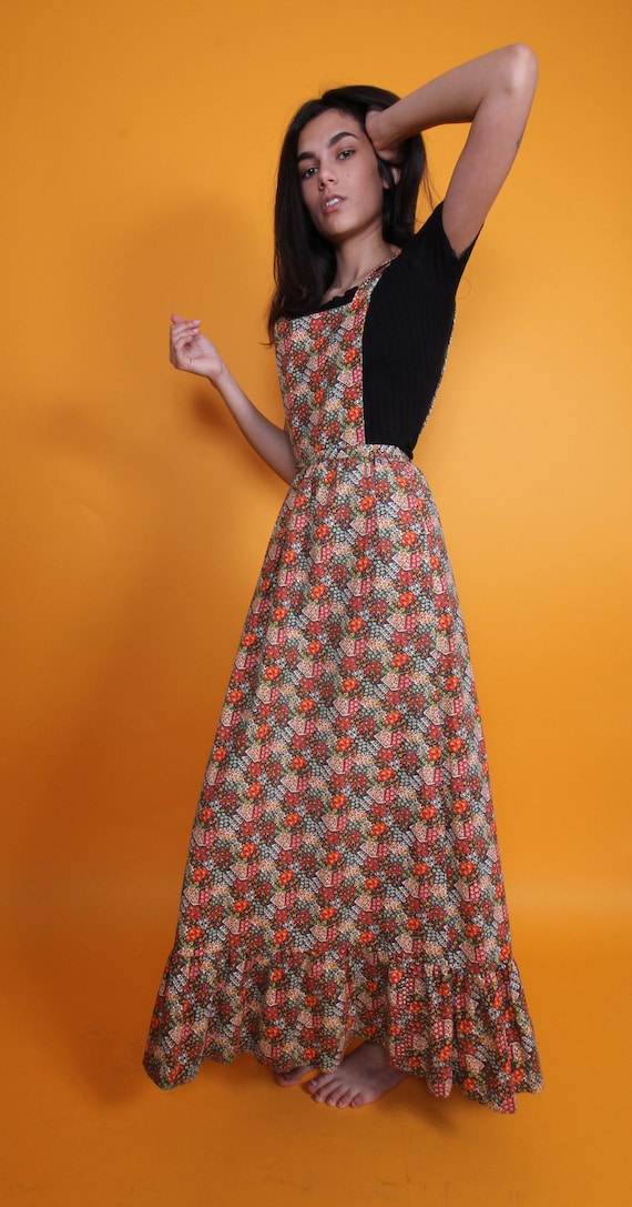 Vintage 1960's Apron Suspender Dress | Overall | Country Girl | Floral | Boho | Festival | Backless