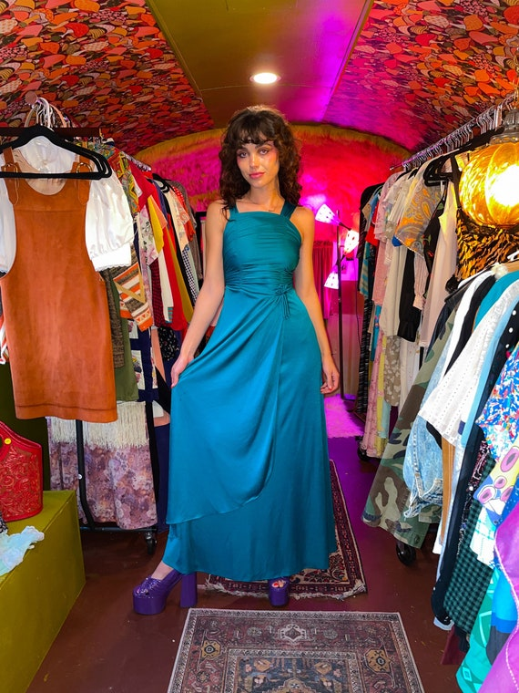 Vintage 1970's Teal Green Disco Party Dress