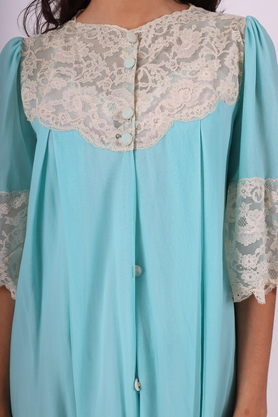 Vintage 'Leonora' Robbins Egg Blue Sheer Duster Robe | Lingerie | Duster | House Jacket | Lace | Romantic and Sweet