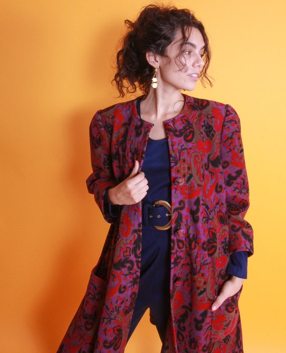 Vitnaged 1960's Magenta Purple and Red Retro Design Coat   Rare and Vibrant Colors   Fall Jacket