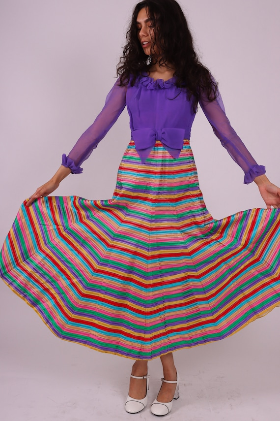 Vintage 1960's Rainbow Candy Striped Dress W/ Lilac Top and Bow | Precious and Perfect