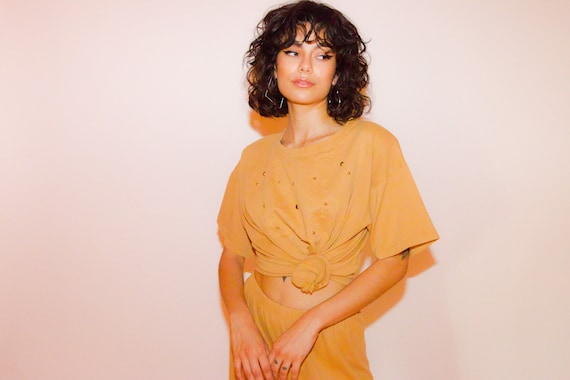 Vintage 90's Two-Piece Mocha Brown High Waisted Pants and T-Shirt Set
