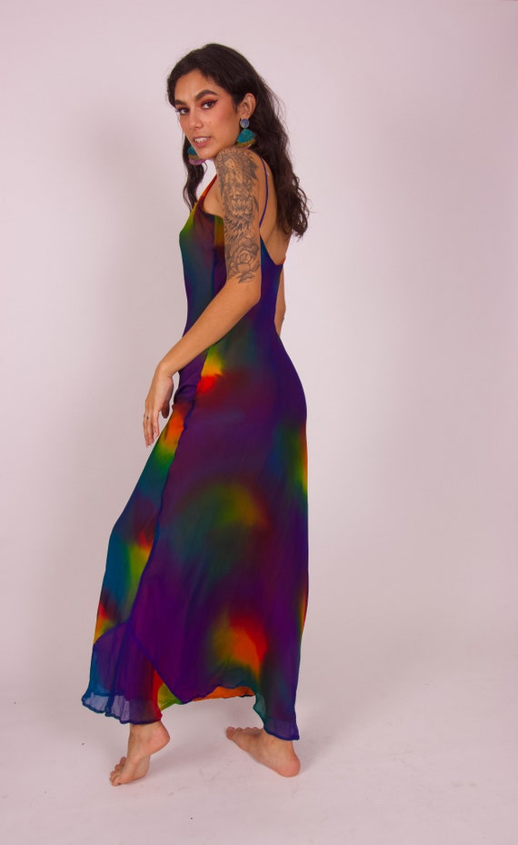 Vintage 'Bamboo Silks' Silk Blue and Rainbow Long Fun Colorful Sheer Dress