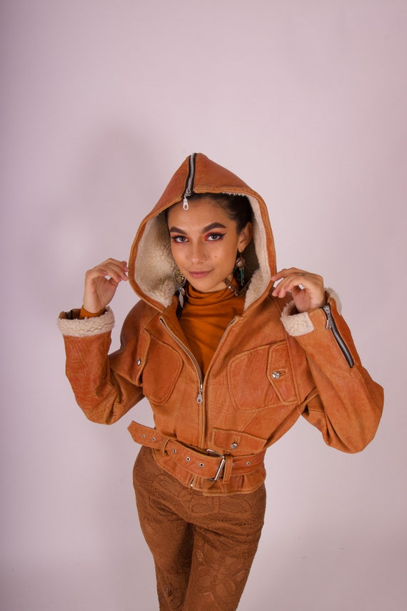 Vintage 90's 'Cache' Crop Brown Leather Shearling Lined Hoodie Bomber Jacket