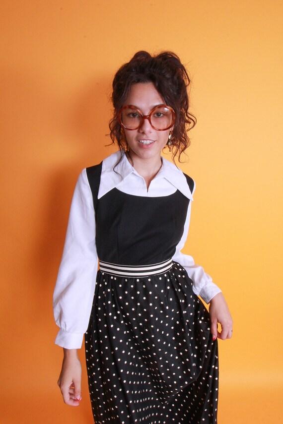 Vintage 'Fritzi Black and White Polka Dot Dress | Long | Collared | Nerdy Girl | Preppy | Disco | Costume