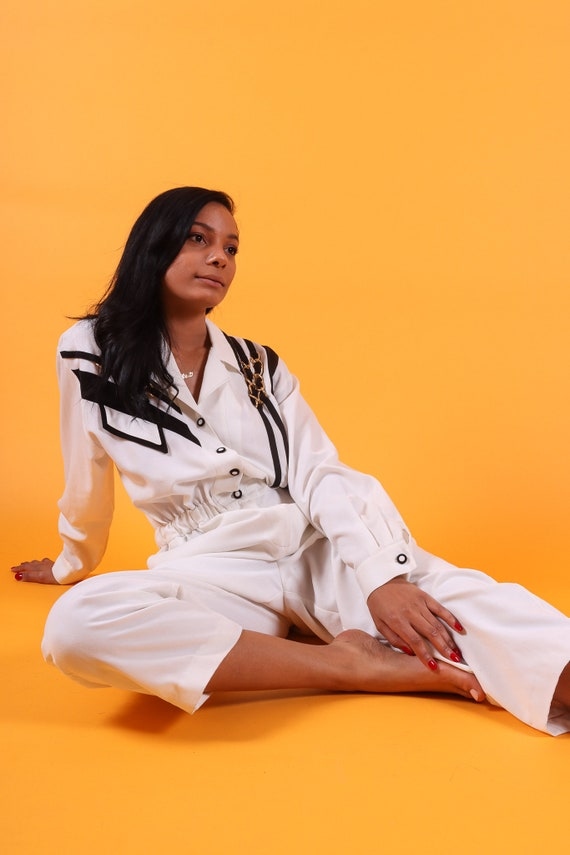 Vintage 90's 'Saint Germain Paris' White and Black Pant Jumpsuit W/ Large Gold Chain Detail