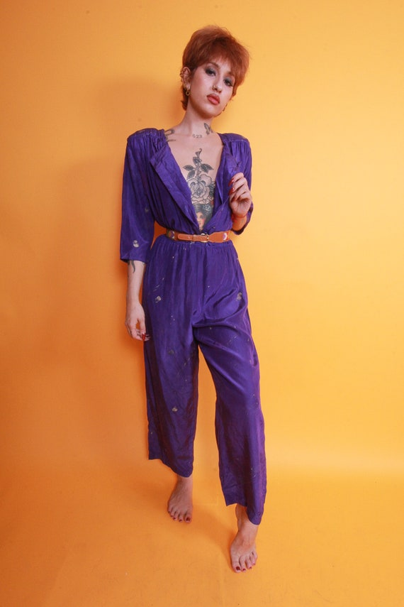 Vintage 90's Prince Purple Metallic Paint Splatter Jumpsuit | One Piece | Pantsuit | Festival | Avant Garde